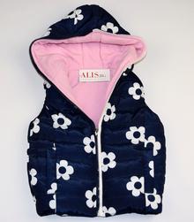 Детска топла грейка - LILI - тъмно синя с розова памучна подплата за 1 и 5 годишни