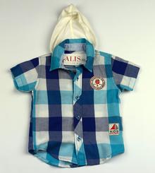 Спортно - елегантна риза с къс ръкав - KIDS STYLE BOYS - синя 9/12 месеца