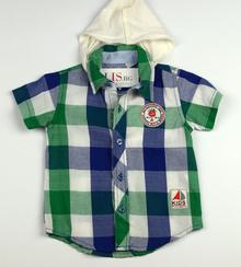 Спортно - елегантна риза с къс ръкав - KIDS STYLE BOYS - зелена за 9/12 месеца