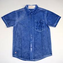 Спортно - елегантна риза с къс ръкав - YONK - тъмно синя за 14 и 16 г.