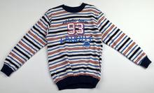 Детска блуза с дълъг ръкав за момче - ATHLETIC TEAM - бяла на светли и тъмни линии за 8 годишни