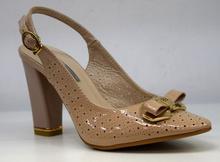 Стилни дамски обувки на висок ток тип сандали - ALLY - бежов лак
