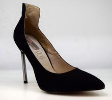 Елегантни дамски обувки на висок ток - BEKKI - черни велур и кожа