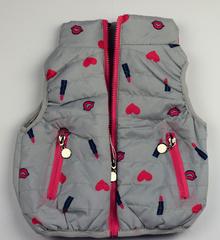 Спортна пролетно - есенна детска грейка с розови акценти - сива от 1 до 5 г.