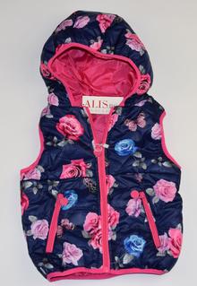 Спортна пролетно - есенна детска грейка - тъмно синя на рози с розови ципове от 8 до 16 г.
