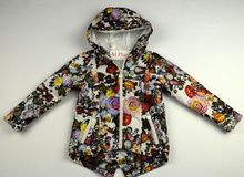 Пролетно - есенно детско яке за деца и юноши - FLORA - бяло на цветя от 8 до 16 г.