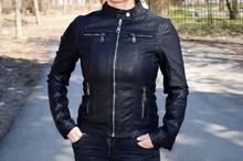 Уникално дамско кожено  пролетно яке - HONEY WINTER -  черно