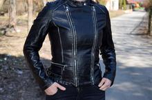 Дамско пролетно кожено яке - BLU DEISE - черно с избелен ефект