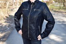 Дамско кожено пролетно яке - TIANNA - черно/ големи размери