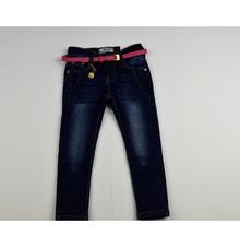 Модни дънки за момичета за 4 и 8 годинки - плътни с колан - тъмно сини