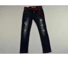 Дънки за момичета с кръпки - ALEXA - сини с колан от 8 до 16 годишни