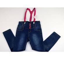 Дънки за момичета - AMIA - тъмно сини с розови тиранти за 6 годишни