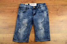 Дамски дънкови 3/4 панталони - JESICA - сини с кръпки