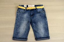 Модни 3/4 дамски дънки - EMMA - сини с колан