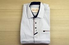 Спортно - елегантна мъжка риза - ANDREWS - 5XL бяла със сини и червени акценти