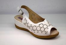 Дамски сандали с перфорация - MIKA - бели