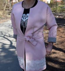 Дамски тренчкот - ABBI - светло розов със сива подплата голям размер