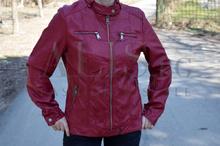 Дамско пролетно кожено яке - TIANNA - бордо/големи размери от 48 до 58