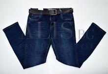 Дамски дънки големи размери - DEBBIE - тъмно сини с колан