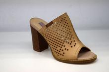 Елегантни дамски чехли на ток - MIA - бежови с перфорация