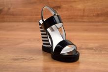 Стилни дамски сандали - SUMMER STAR - черен лак