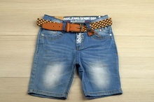Къси дънки за момче - FS - сини с колан от 4 до 16 години