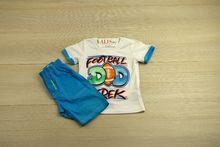 Спортен комплект -FOOTBALL - светло син за 12 месечни