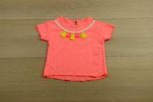 Детска блуза с къс ръкав - pompom - розова от 6 до 36 месечни