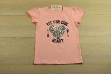 Детска блуза с къс ръкав - HEART - розова от 3 до 9 годишни