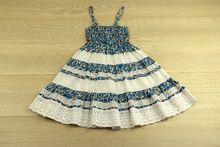 Комфортна детска рокля - SUN - синя за 2 и 4 годишни