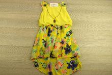 Детска рокля с колие - PINK GIRL -жълта за 2,4,6,8 годишни