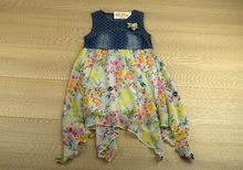 Асиметрична детска ежедневна рокля - светло синя за 10 годишни