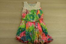 Пролетно/лятна детска рокля - зелена за 4 годишни