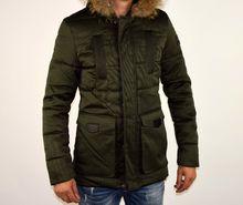Страхотно зимно мъжко яке НОВ МОДЕЛ- 1102 - тъмно зелено до 2XL