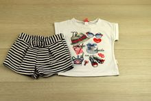 Комплект с къси панталонки - бял за 4 годишни