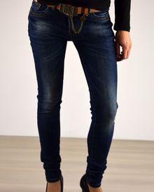 Дамски дънки с колан - 025 - тъмно сини