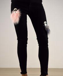 Дамски панталон с пух - 027 - черни