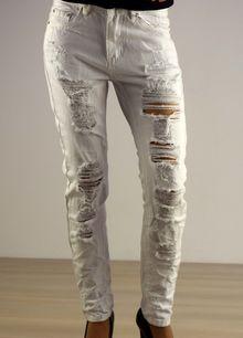 Дамски потури с модни накъсвания - 009 - бели