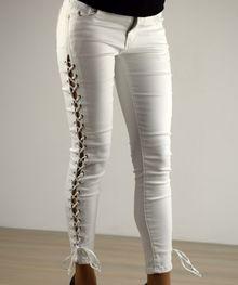 Моден дамски панталон - 035 - бял с плетеница