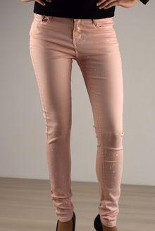 Дамски панталон с напръскан ефект - 037 - розов