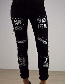 Дамски панталон с надписи - 039 - черен