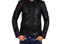 Мъжко стилно зимно кожено яке - 1108 - черно