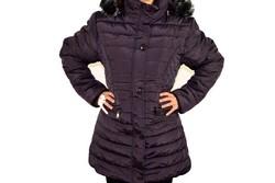 Дамско зимно яке модел в големи размери - тъмно лилаво