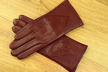Дамски ръкавици естествена кожа код 027-бордо