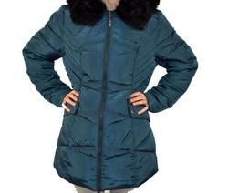 Дълго зимно дамско яке - 1627 - тъмно зелено