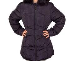 Дълго зимно дамско яке - 1629 - тъмно лилаво