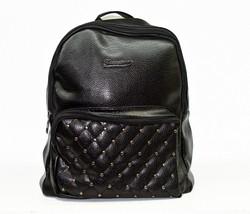 Дамска раница - 9005 - еко кожа - черна с капси