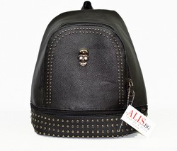 Дамска раница - 9006 - черна с капси - еко кожа