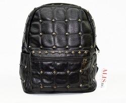 Дамска раница - 9007 - черна на квадрати с капси - еко кожа