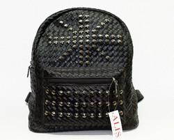 Дамска раница - 9008 - черна с преплетени кръгли капси - еко кожа